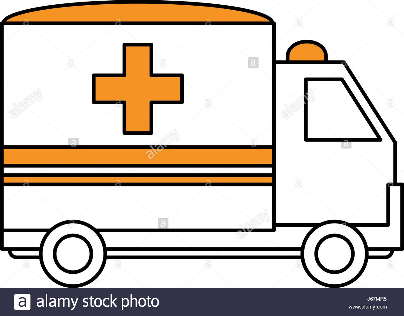 1300x1015 Color Silhouette Image Cartoon Ambulance Truck With Cross Symbol