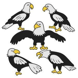300x300 American Bald White Headed Eagle Cuttable Design Cut File. Vector
