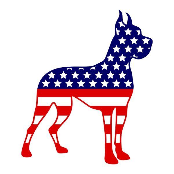 600x600 Usa American Flag Dog Cuttable Design Cut File. Vector, Clipart