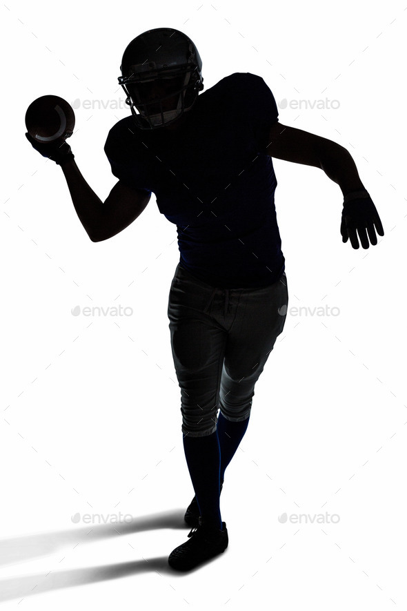 590x885 Silhouette American Football Player Throwing Ball Over White