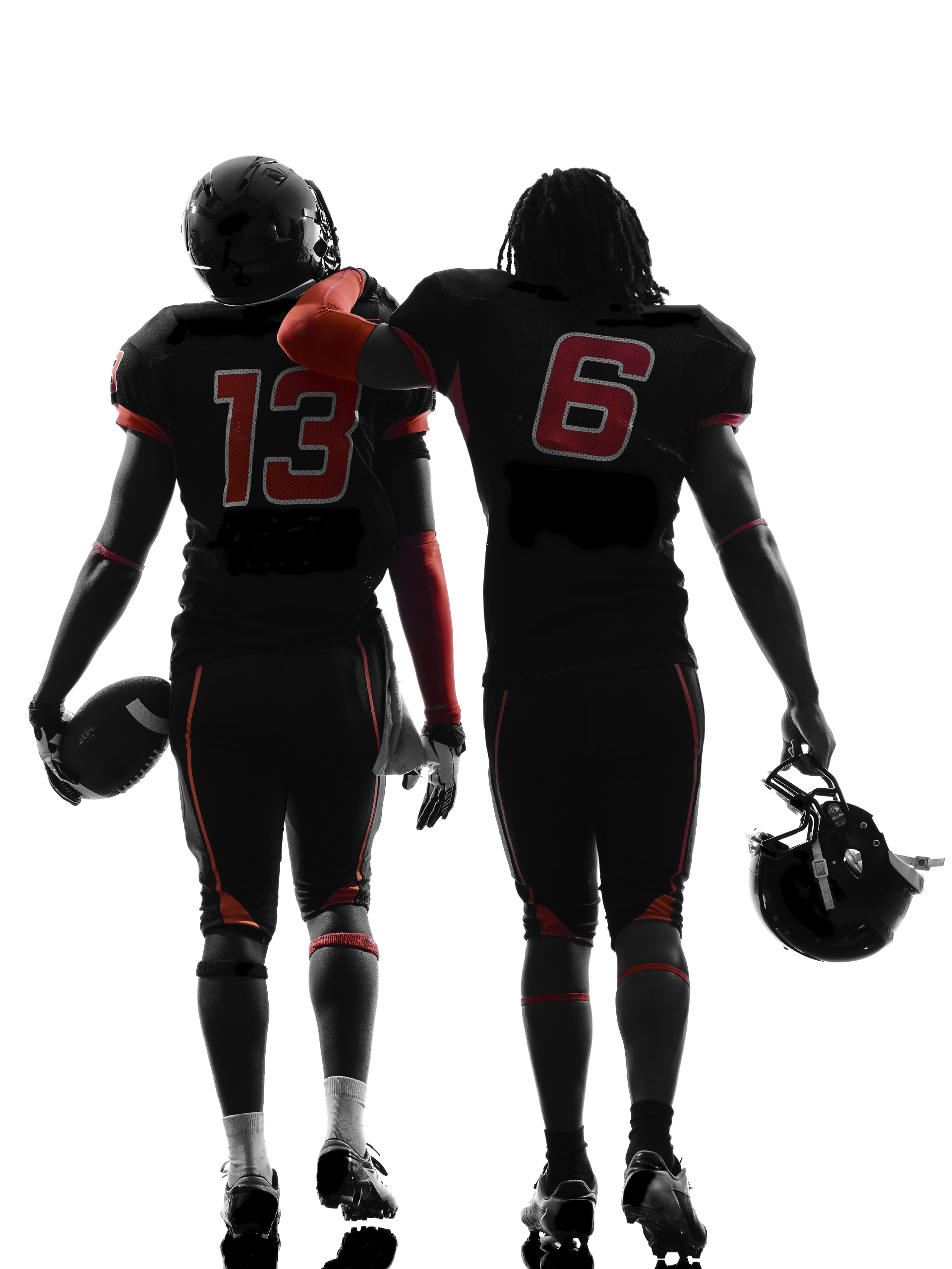 1920x2560 Two American Football Players Walking Rear View Silhouette