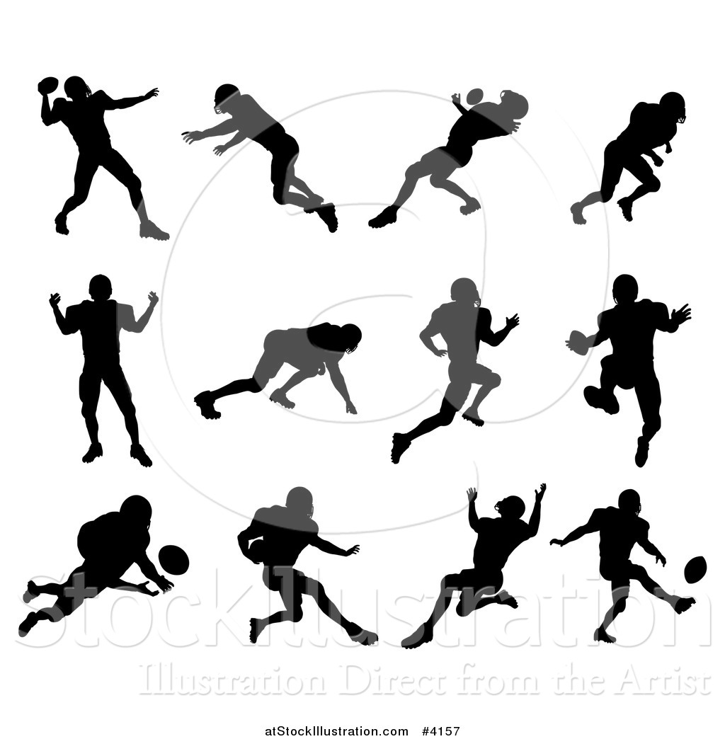 1024x1044 Vector Illustration Of Black Silhouetted American Football Players