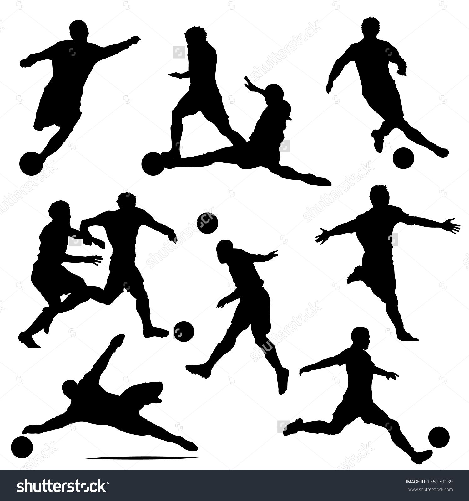 1500x1600 Various Isolated Poses Of Soccer Players In Silhouettes Soccer