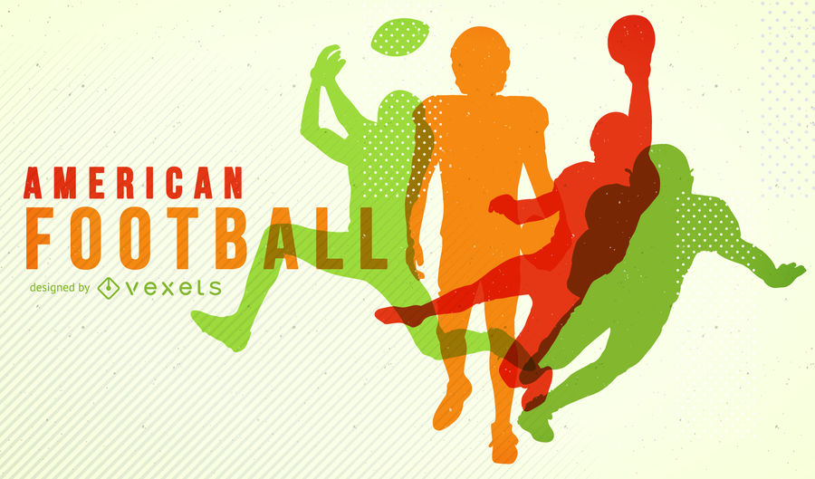 900x529 Colorful American Football Silhouette Poster