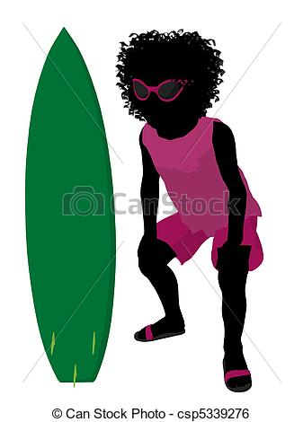 337x470 African American Beach Girl Silhouette Illustration. African