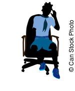 150x180 African American Girl Scout Sitting In A Chair Illustration