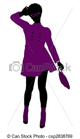 269x470 African American Shop Girl Silhouette. African American Shop