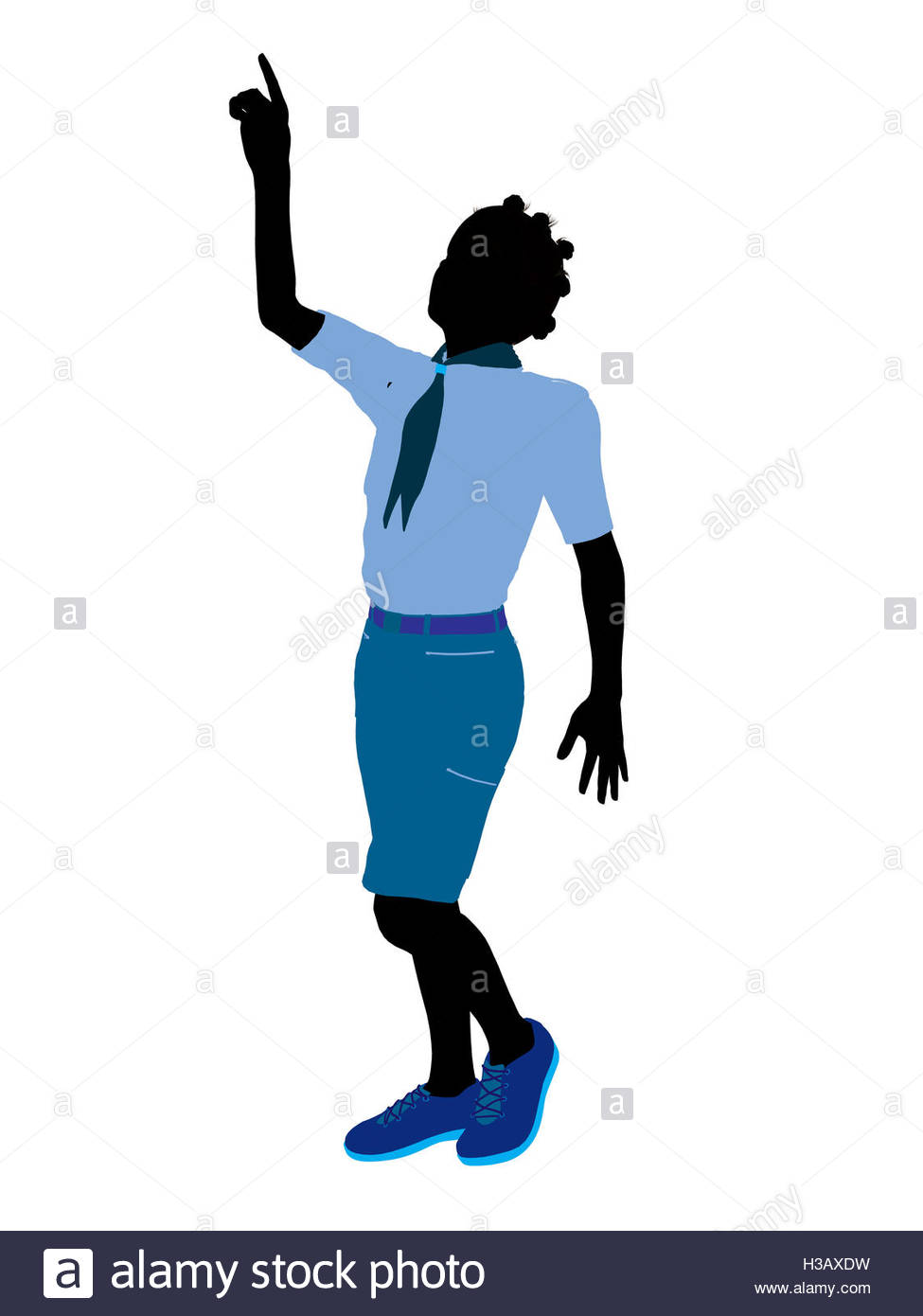 975x1390 African American Girl Scout Illustration Silhouette Stock Photo