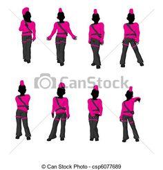 236x246 African American Rain Girl Silhouette Illustration Great