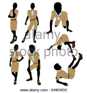 300x320 African American Boy Scout Silhouette On A White Background Stock