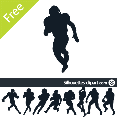 500x500 American Football Players Vector Silhouette Silhouettes Clipart