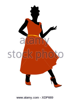 300x420 African American Prom Girl Illustration Silhouette Stock Photo