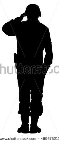198x470 Army Soldier Saluting Silhouette Png Clip Art Image