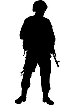 251x355 American Military Soldier Silhouette Wall Decal By