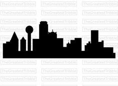 236x173 Dallas Skyline Silhouette Medium Vinyl Wall Decal By Wallstickz