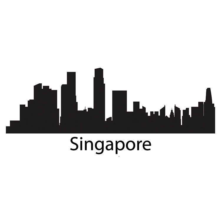 750x750 Singapore Skyline Wall Sticker Background Template