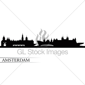 325x325 Amsterdam City Skyline Silhouette In Grayscale Gl Stock Images