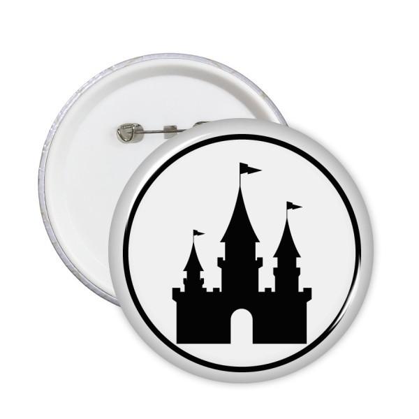 600x600 Amusement Park Castle Black Silhouette Round Pins Badge Button