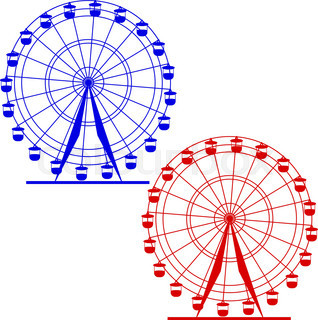 318x320 Silhouette Atraktsion Colorful Ferris Wheel. Vector Illustration