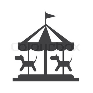 320x320 Vector Flat Amusement Park Objects Icon Set. Merry Go Round