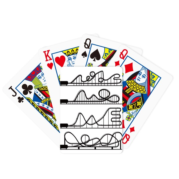 600x600 Amusement Park Black Roller Coaster Silhouette Poker Playing Cards