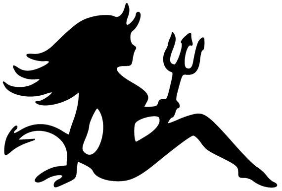 570x385 Mudflap Devil Woman Trucker Seated Lady Girl Vinyl Decal