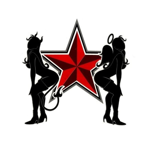 600x600 Black Angel And Devil Gill Silhouettes With A Huge Red Star Tattoo