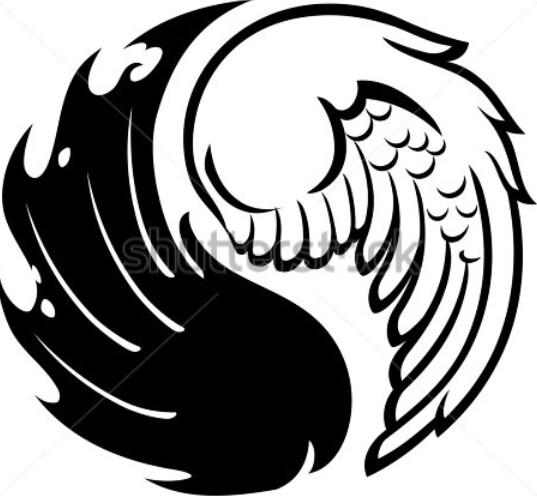 537x496 Half Devil Half Angel Tattoos Angel Devil Wings Tattoo Designs