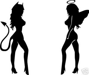 300x254 Angel And Devil Girls Vinyl Sticker Decal Ebay