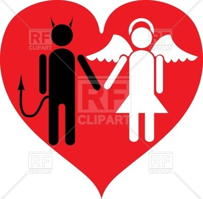 400x392 Devil And Angel In Love Royalty Free Vector Clip Art Image