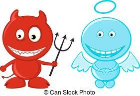 281x194 Little angel and devil. Vector silhouette cute little devil