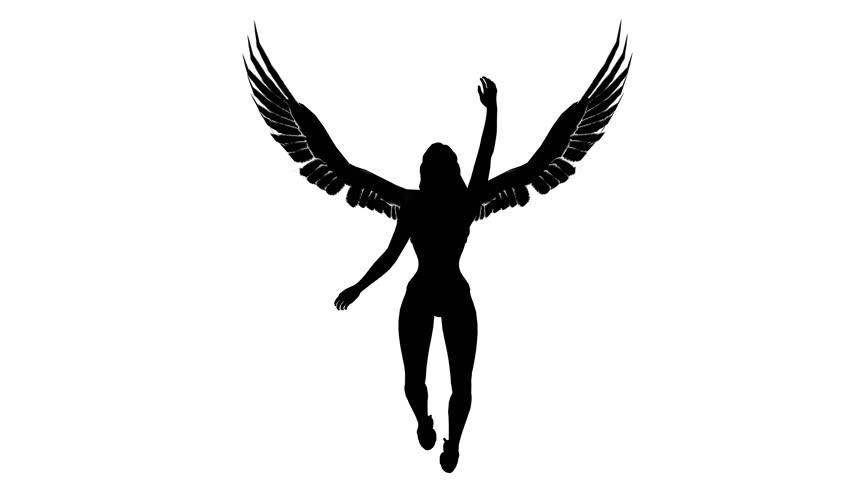 852x480 Black Silhouette Of A Girl Angel. Alpha Channel. Alpha Matte. 4k
