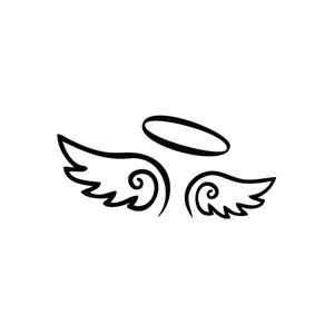 300x300 Angel Wings Decal With Halo, Angels Decals, Angels Stickers, Vinyl