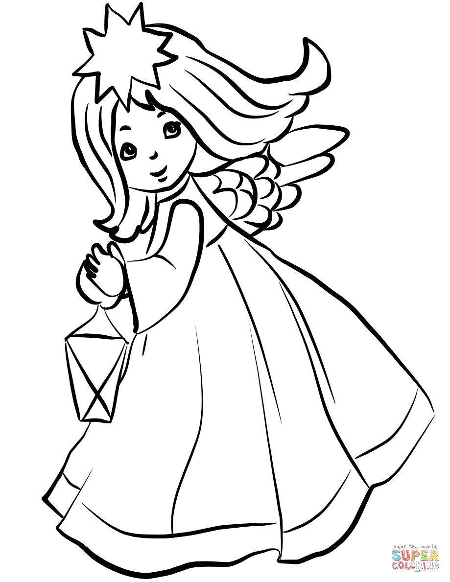 919x1189 Christmas Angel With Lantern Coloring Page Free Printable