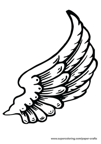 339x480 Left Angel Wing Paper Template Free Printable Papercraft Templates