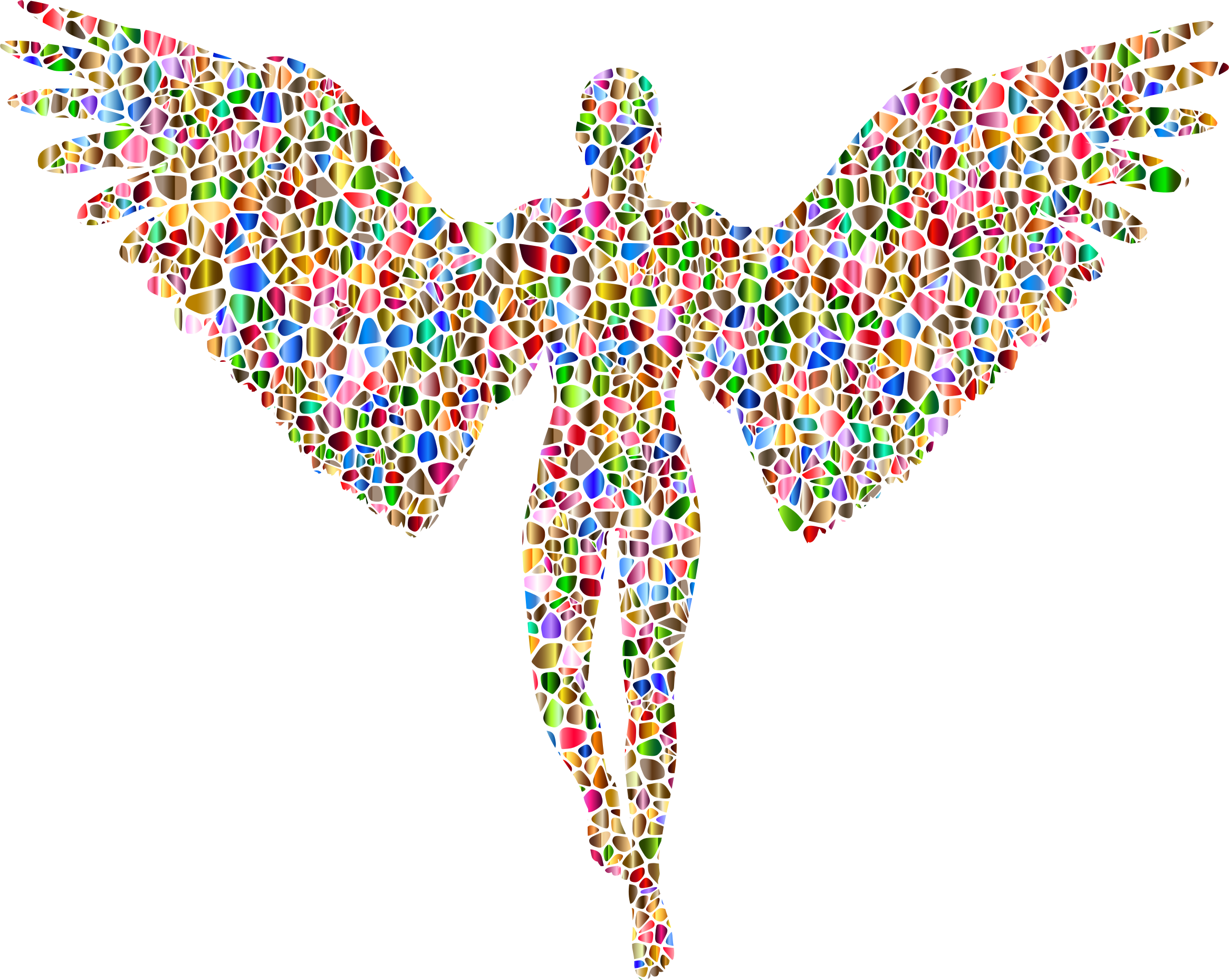 2330x1858 Chromatic Tiled Angel Silhouette No Background Icons Png