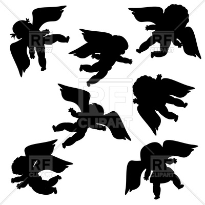 400x400 Flying Angels Silhouettes Royalty Free Vector Clip Art Image
