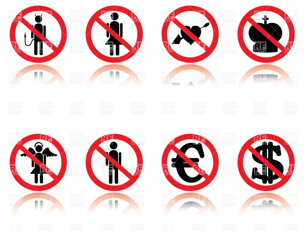 1200x904 Prohibition Signs With Silhouettes Of Currency, Heart, Human