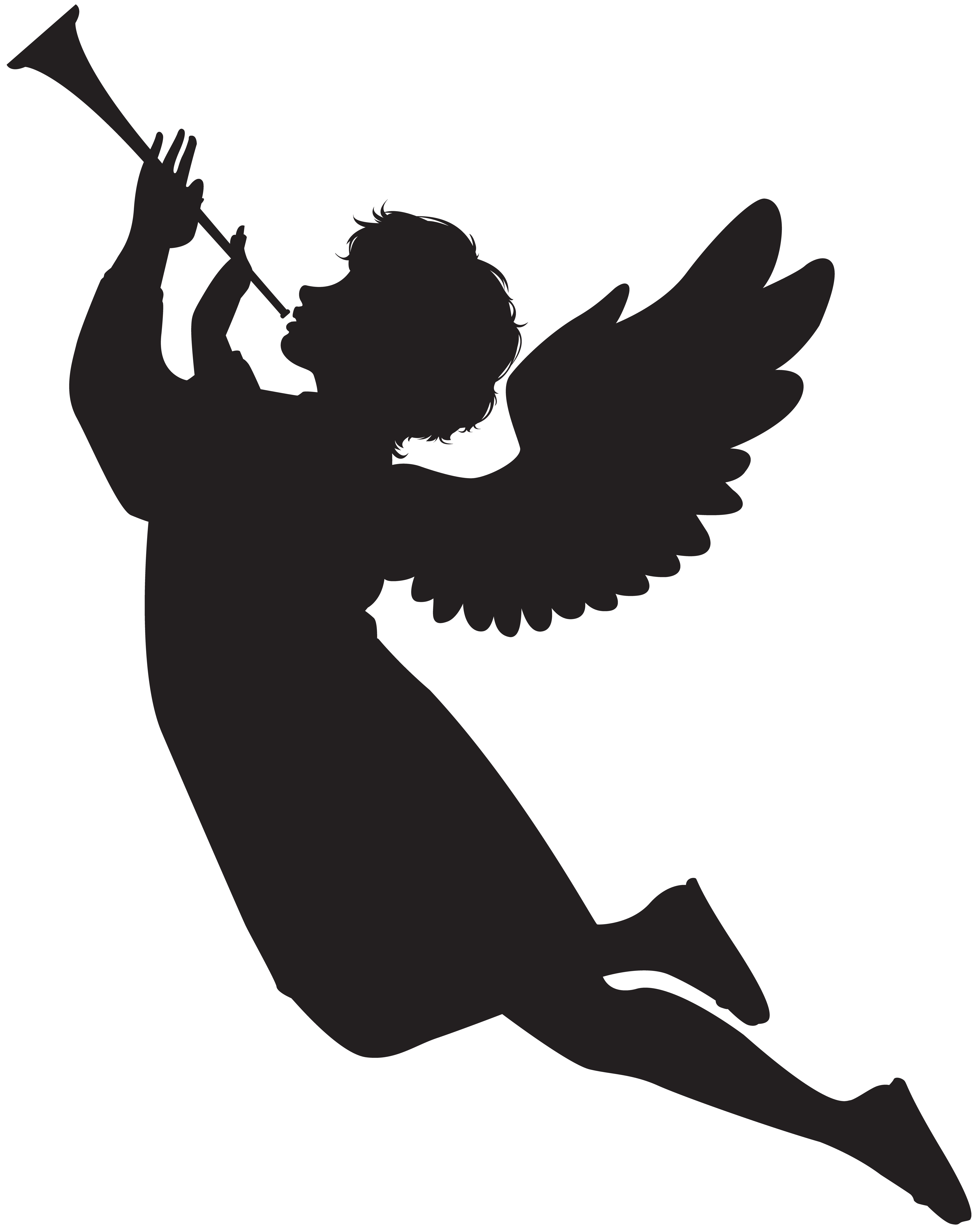 5581x7000 Angel With Fanfare Silhouette Png Clip Art Imageu200b Gallery