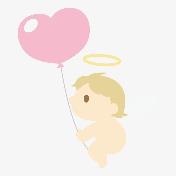614x614 Vector Cartoon Wedding Marriage,little Angel Holding Balloons