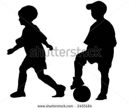 450x380 Silhouette Of Kids Silhouettes Of Children Playing Soccer (Boy