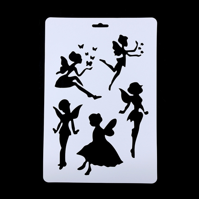 640x640 2pcpack Diy Craft Angel Layering Stencils For Walls Painting