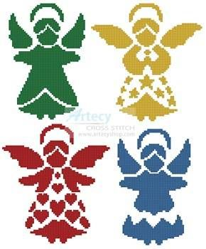 290x350 Angel Silhouettes Cross Stitch, Silhouettes And Stitch
