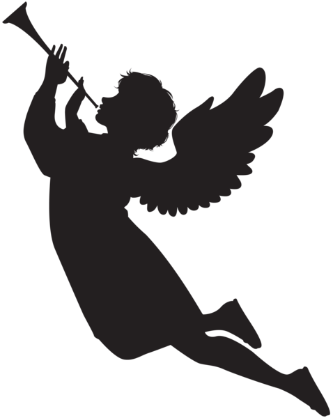 478x600 Angel With Fanfare Silhouette Png Clip Art Image Silhouettes