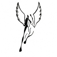 200x200 Nice Small Black Ink Running Pegasus Silhouette Tattoo Design