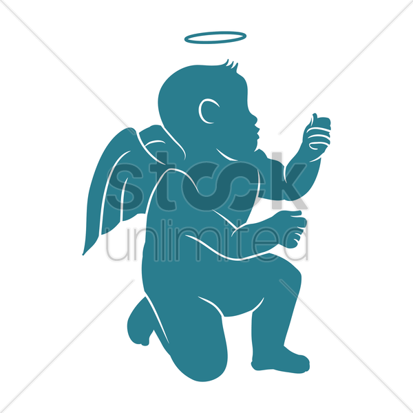 600x600 Angel Silhouette Vector Image