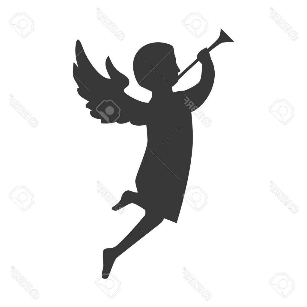 1024x1024 Hd Angel Playing Trumpet Side View Silhouette Vector Illustration
