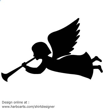 335x355 Angel Flying Trumpet Silhouette Vector Graphics Christmas