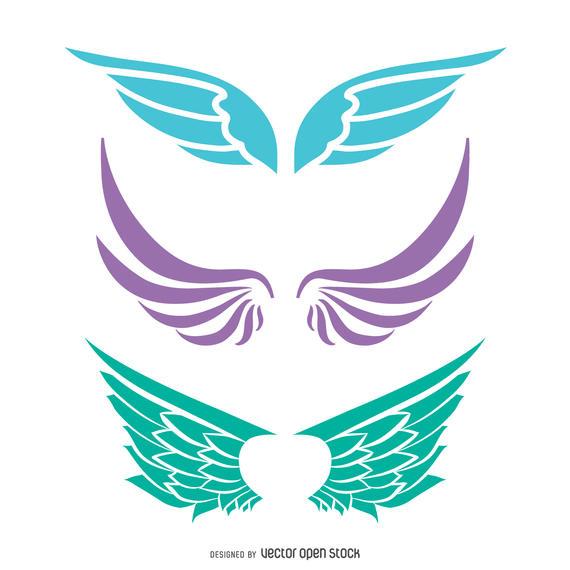 570x570 Angel Wings Silhouette Set