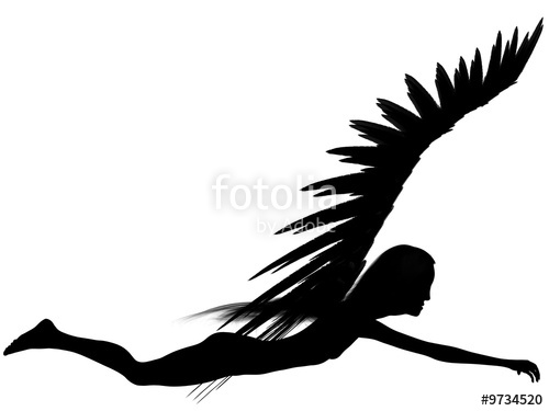 500x375 3d Rendered Angel Silhouette,unfolded Wings,white Background